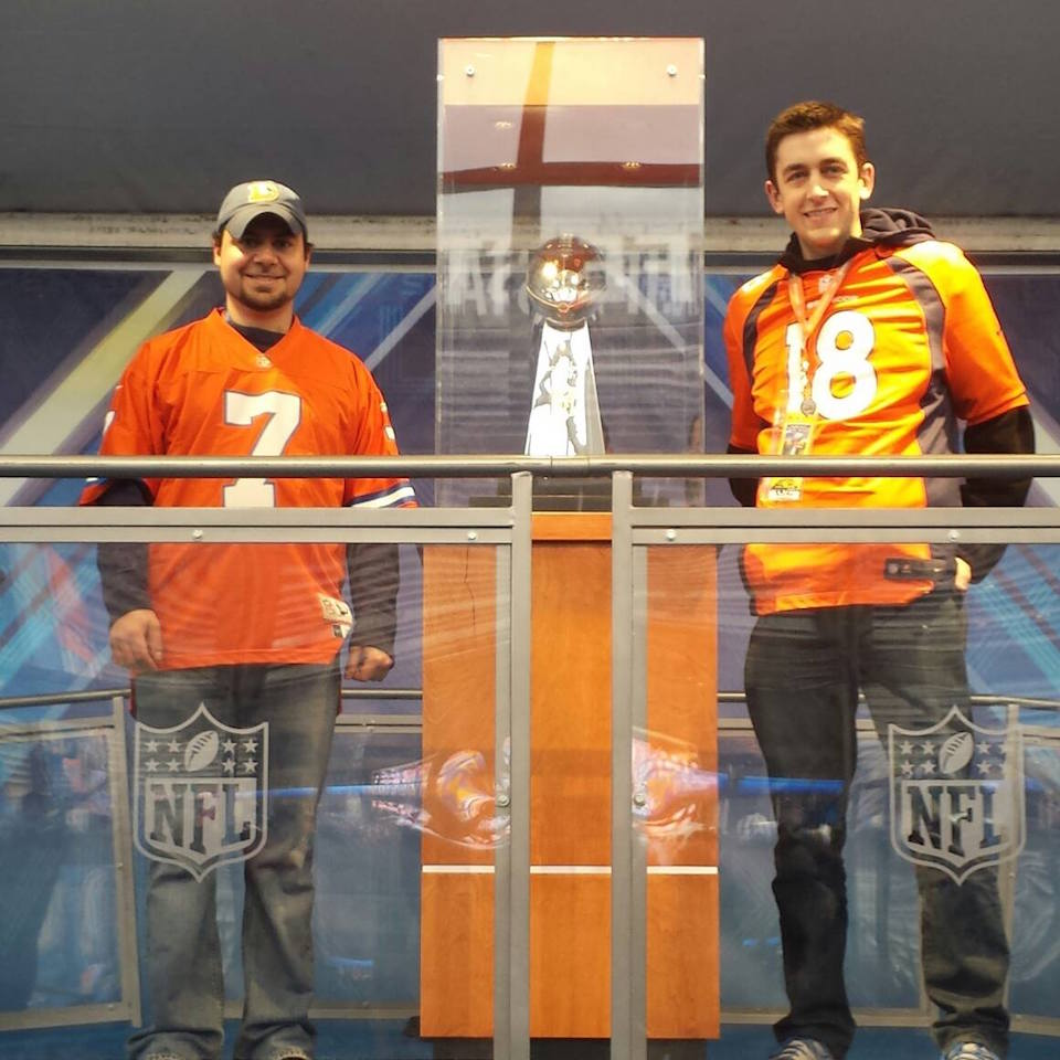 RISE NEWS writer Jacob Weindling (L) at Super Bowl XLVIII in New York City in 2014. Photo Credit: Jacob Weindling