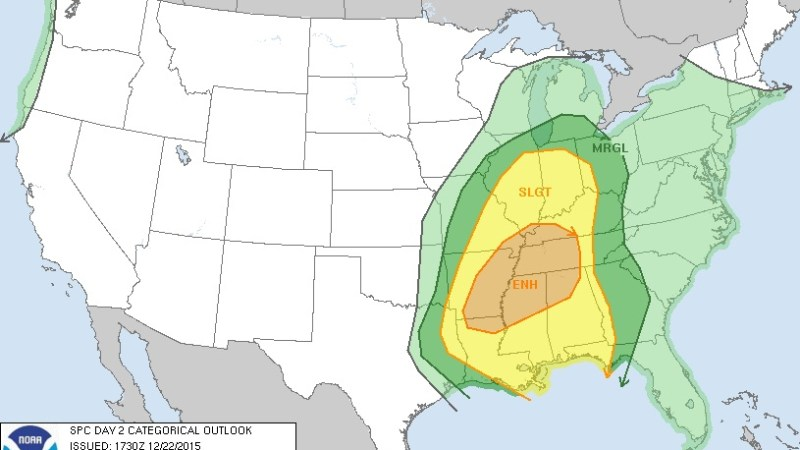 SPC Convective Outlook for Wednesday, December 23, 2015