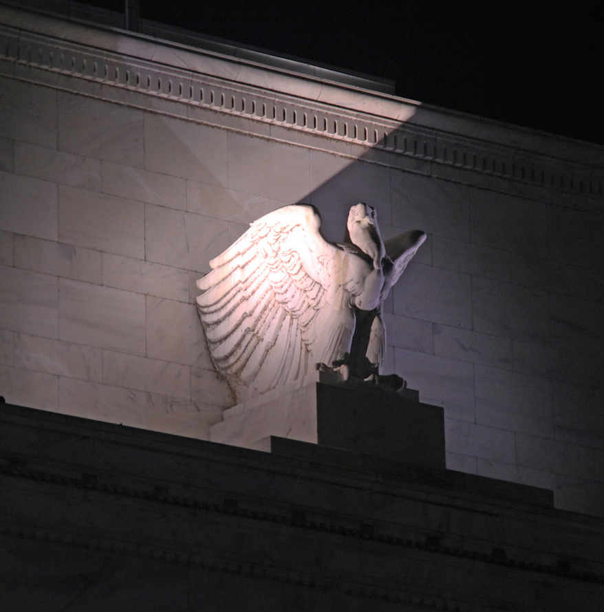 An eagle outside of the Federal Reserve building in Washington, D.C. Photo Credit: Tim Evanson/ Flickr (CC By 2.0)