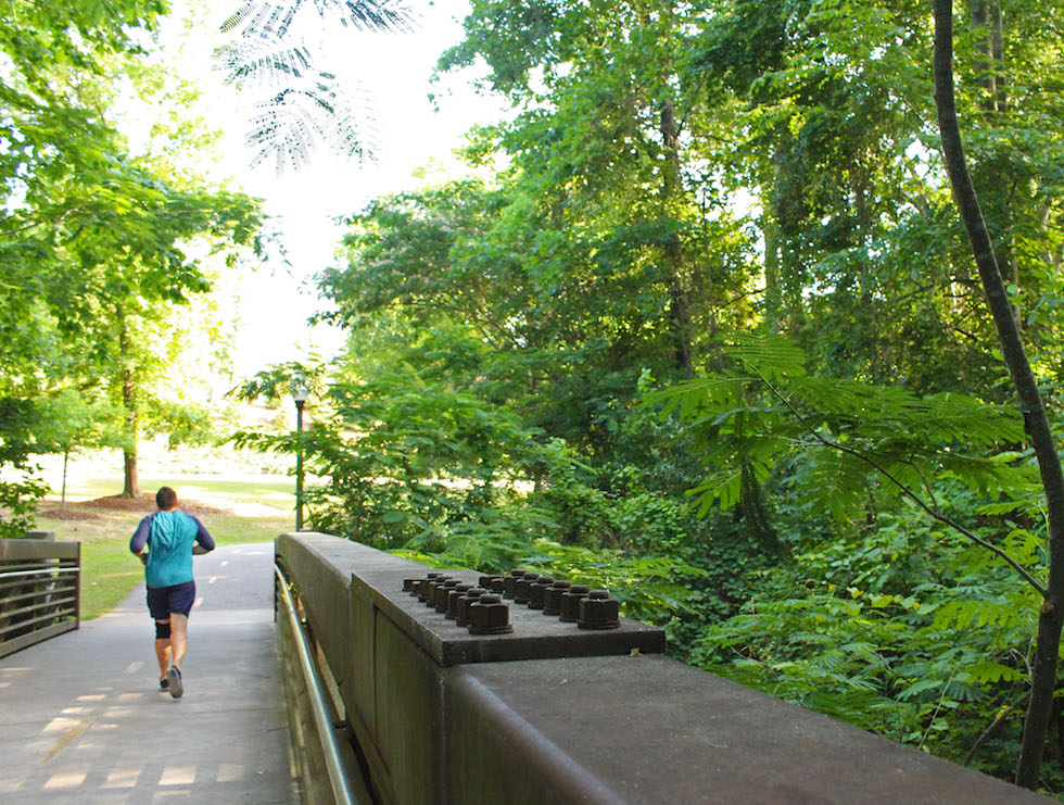 The riverwalk is a runner's haven in Tuscaloosa. Photo Credit: Caroline Vincent