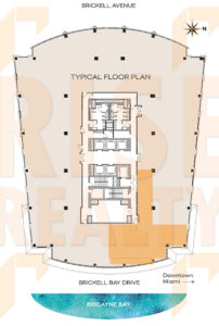 Office floor plan for 2,363sf for sublease in Brickell Miami's Sabadell Financial Center 1111 Brickell Avenue