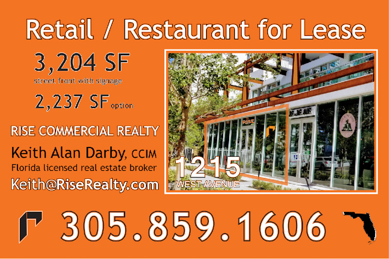 Miami South Beach retail or restaurant for lease 1215 West Avenue