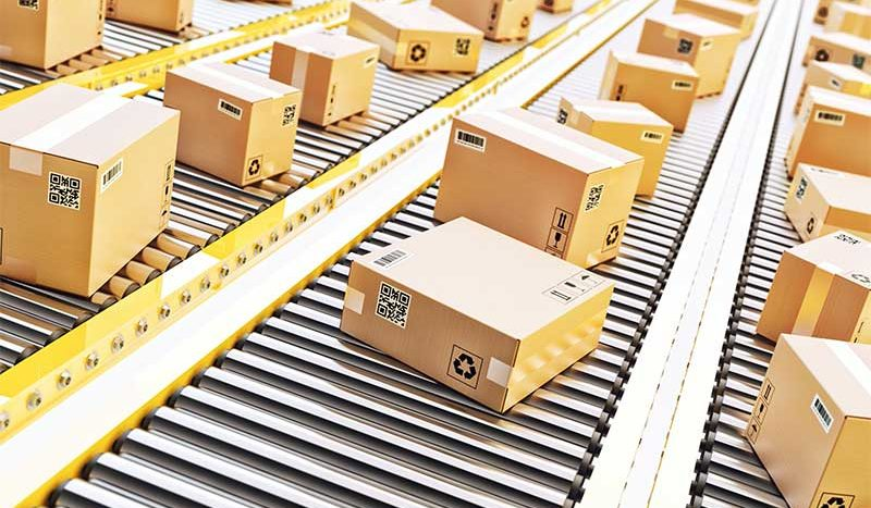 Boxes moving on a conveyor belt