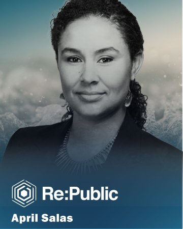 April headshot from Re:Public with testimonial