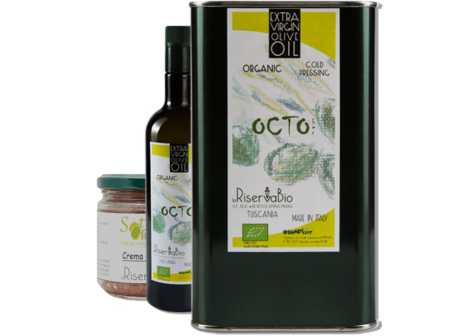 Organic Olive Oil Octo in metalic box and bottle