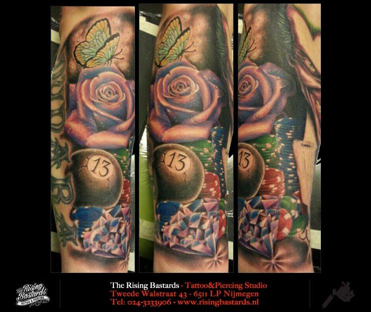 lifeisagamble_tattoo_sleevetattoo_colortattoo_rosetattoo_risingbastards_nijmegen