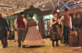 Several of the costumed actors at the Dickens Fair