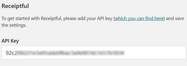 Receiptful - API Key Settings