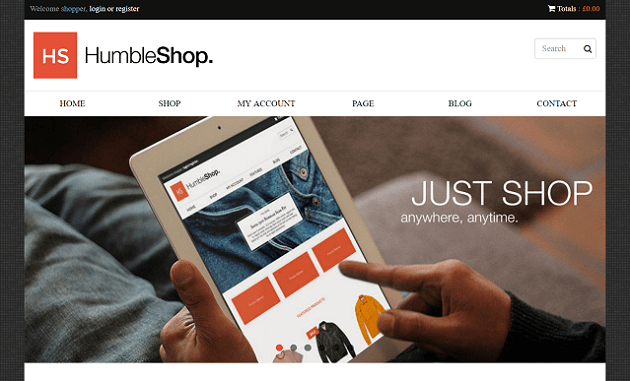 A screenshot of the HumbleShop theme.