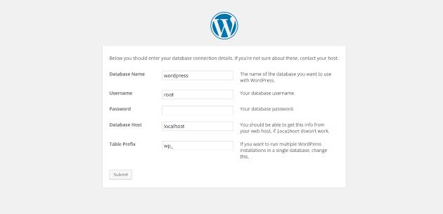 WordPress Setup Database Details