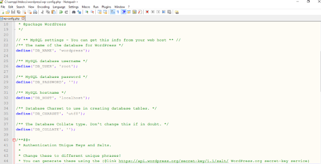 wp config file edited