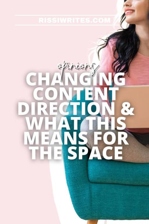 CHANGING CONTENT DIRECTION & WHAT THIS MEANS FOR THE SPACE. Chatting about changing content direction, adding in some discussion topics. Text © RISSI JC