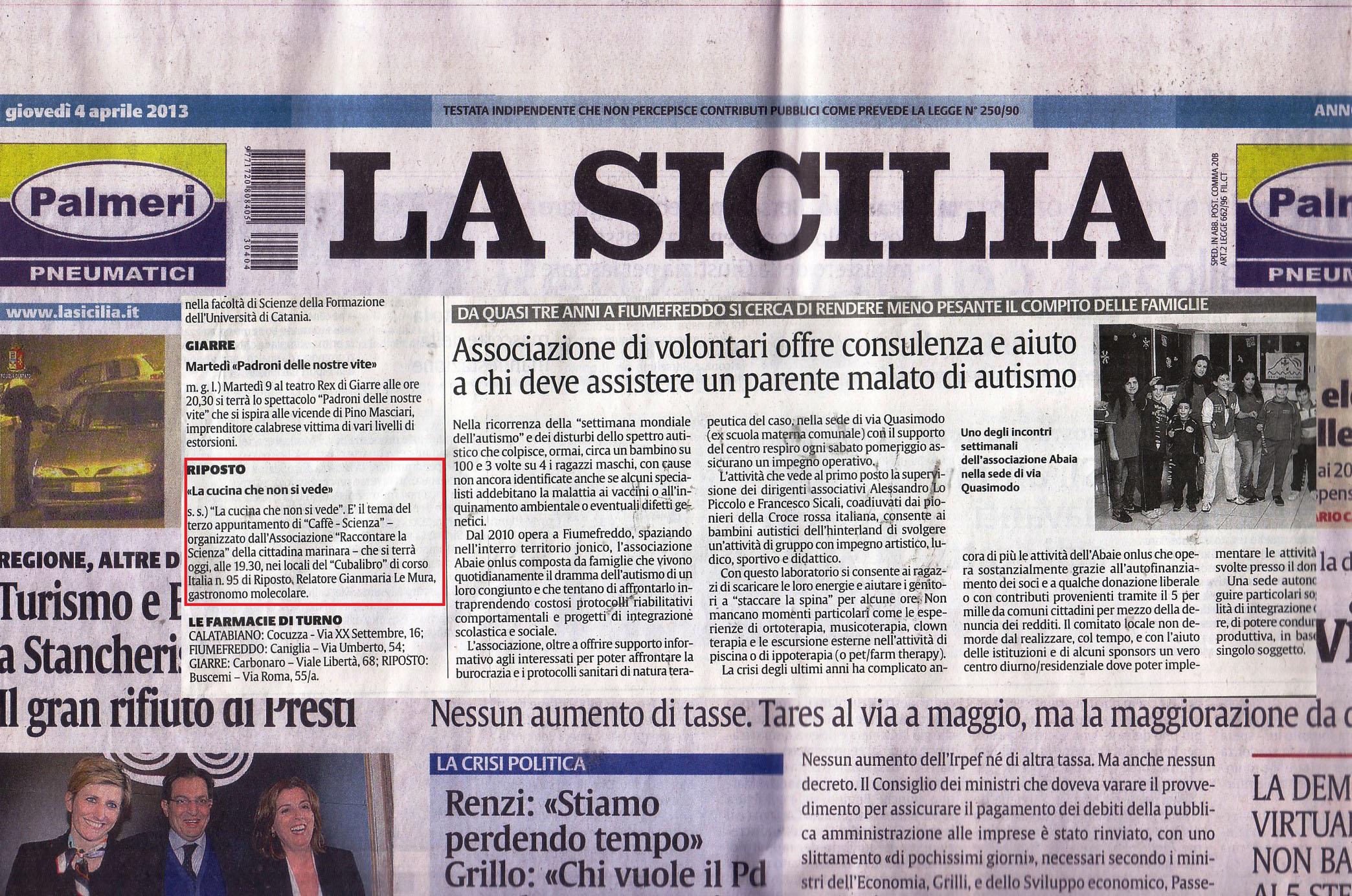 Luisa Salici ospita  La scienza in Cucina   GianMaria
