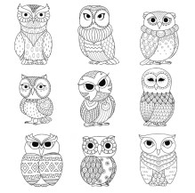 16.Раскраски антистресс совы