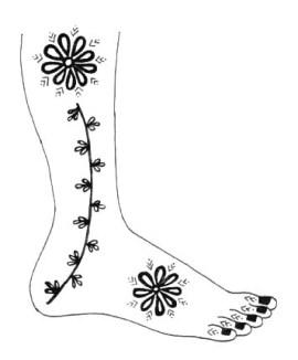 17.мехенди на ноге эскизы
