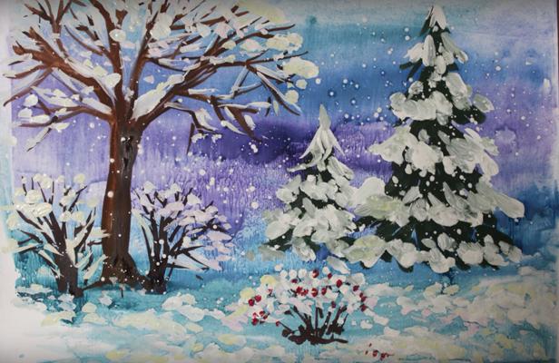 शीतकालीन रात चित्रा पेंसिल, फोटो 6
