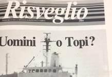 La prima pagina di Risveglio 2000 dopo la tragedia della Mecnavi