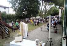 Un momento della Messa di ieri a Piangipane