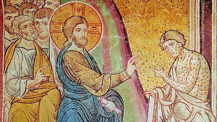 Scuola bizantina (VI secolo) Gesù guarisce un lebbroso (particolare) pasta vitrea a mosaico. Duomo di Monreale