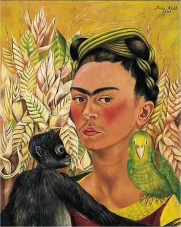 self-portrait-with-monkey-and-parrot