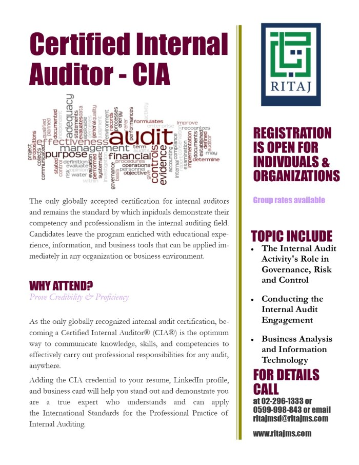 Certified Internal Auditor Cia Ritaj Managerial Solutions
