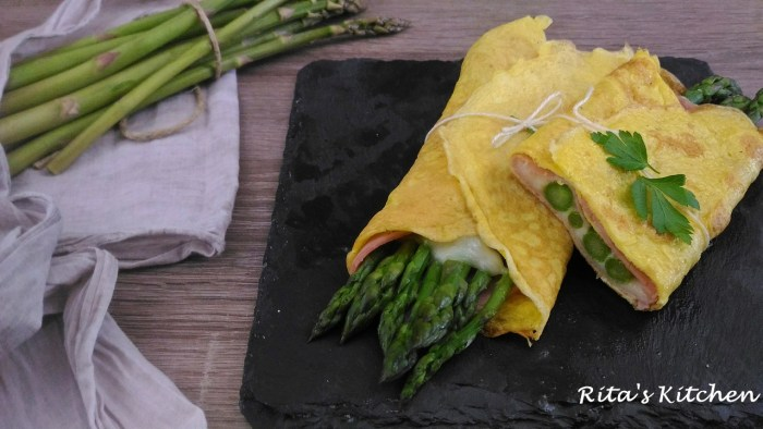 fagottini di frittata ripieni di asparagi