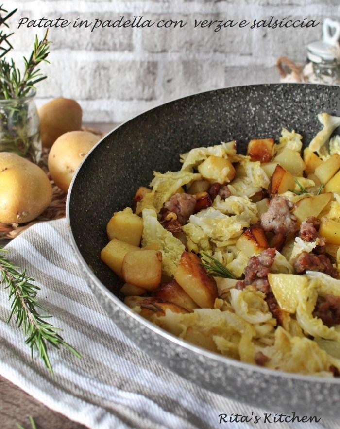 patate in padella con verza e salsiccia