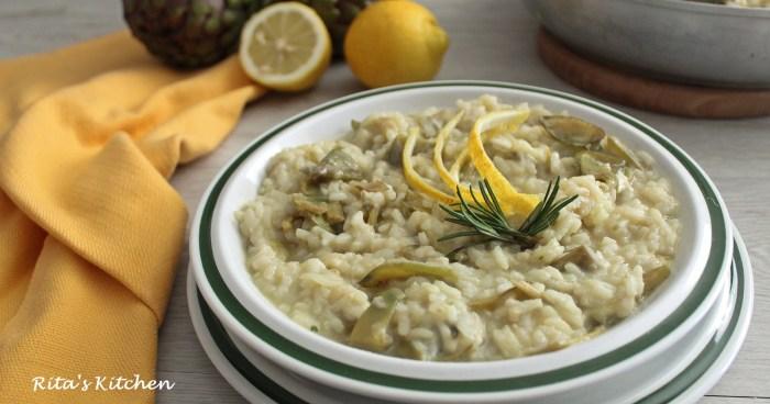 risotto con carciofi, limone e provola