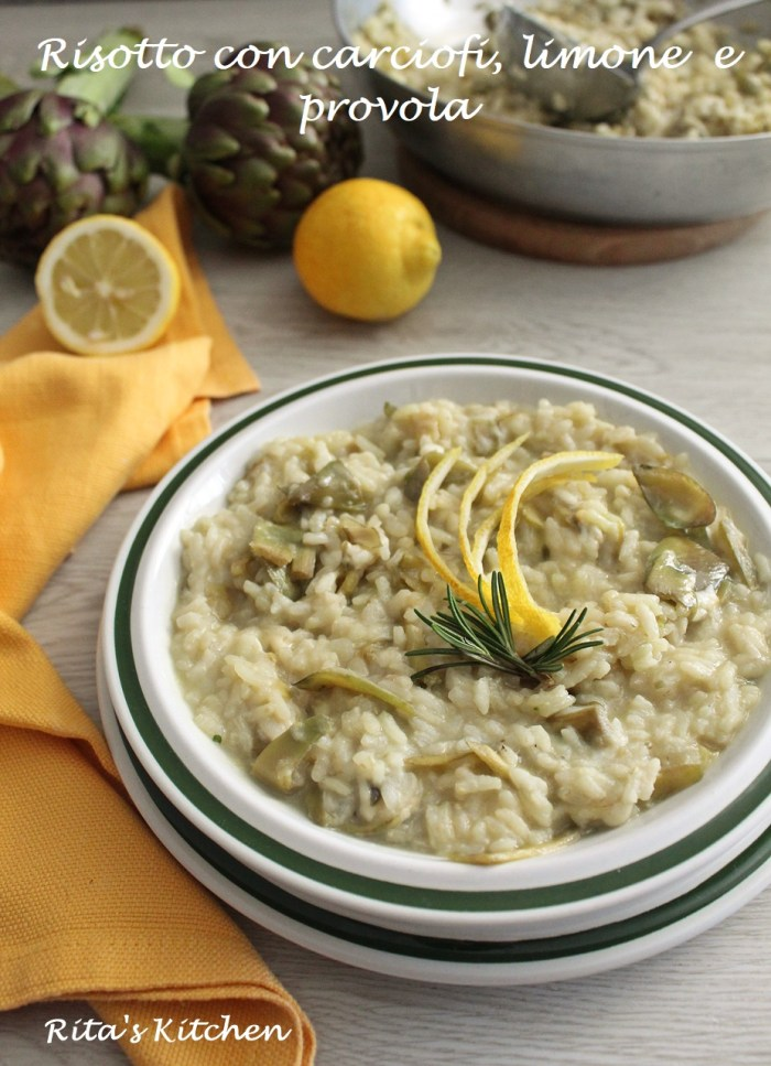 risotto con carciofi limone e provola