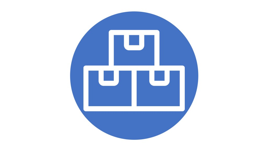 blue circle icon with stacked boxes