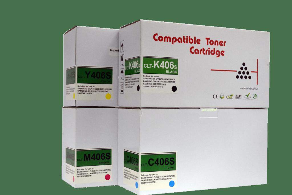 Samsung CLT-406s Premium Compatible Toner Cartridge, Samsung CLT-K406s, Samsung CLT-C406s, Samsung CLT-Y406s, Samsung CLT-M406s