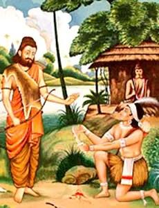 Ekalavya giving his thumb to his teacher, Drona, in Mahabharat