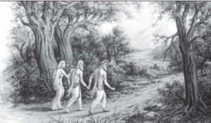 Vidura with Gandhari and Dhritrashtra (in forest)
