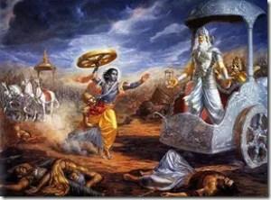 Shri Krishna challenging Bhishma in the war of Kurukshetra