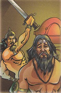 Dhrishtdyumna-killing-drona-indian-mythology-mahabharat