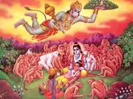 Hanuman bringing sanjeevani booti to revive Laxman