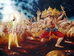 Rama using Prasavapan on Ravana
