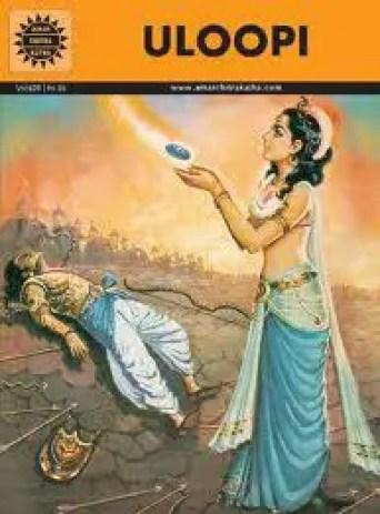 Uloopi reviving Arjuna after Babhruvahana defeated and killed him
