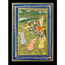 Another miniature painting depicting hunting scenes