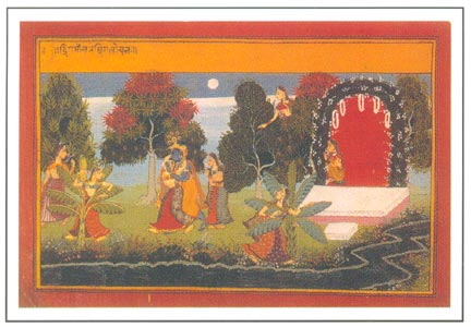 Radha and Krishna playing blind man buff