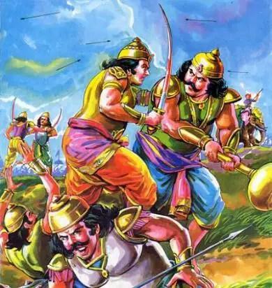 Sahdev killing Shakuni in Mahabharata