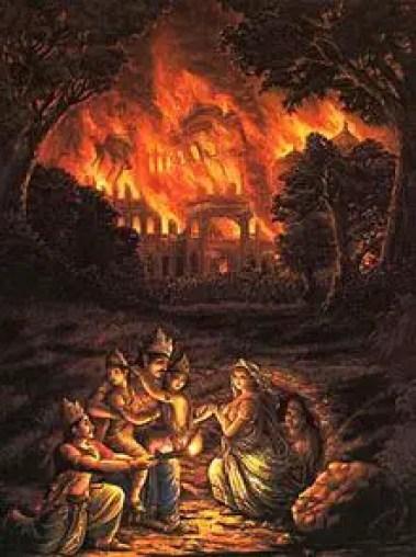 Pandavas escaping from Lakshagriha