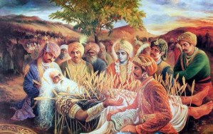 Bhishma teaching Pandavas from deathbed - Sharshayya