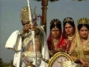 Bhishma abducting Amba, Ambika and Ambalika
