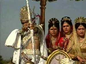 Bhishma abducting Amba, Ambika and Ambalika