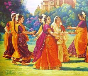 Women celebrating Teej