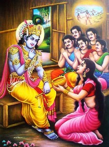 Lord Krishna , Pandavas and Draupadi with Akshaypatra saving from Durvasa
