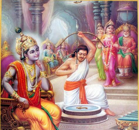 Krishna watches as Arjuna targets fish