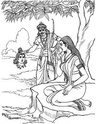 Ravana shows Rama's head to Sita - Ramayana