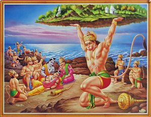 Hanuman brings mountain containing herbs